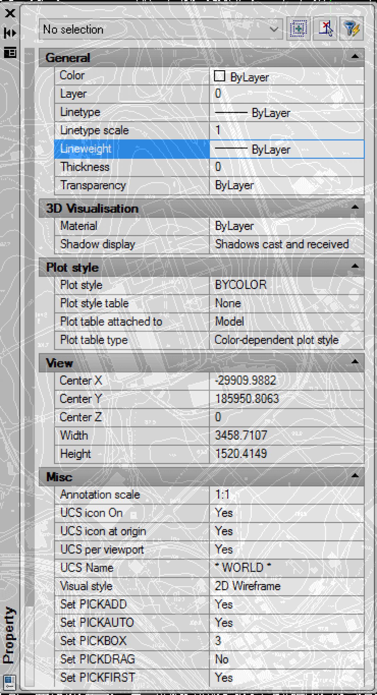 IntelliCAD Properties Pane Transparency