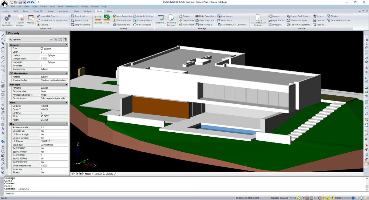 CMS IntelliCAD 3D tieňovanie