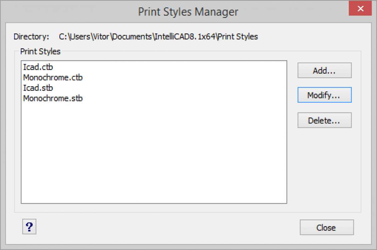 IntelliCAD Print Styles Manager